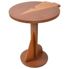 Mid-Century Modern Round Mahogany Wood Marquetry Side or Cocktail Table, Italy