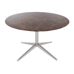 Mid-Century Modern Round Marble Dining Table or Desk by Florence Knoll for Knoll