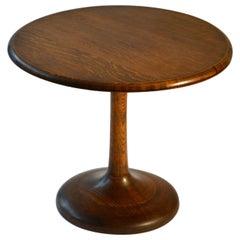 Mid-Century Modern Round Oak Side Table on Tulip Foot