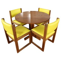 Mid-Century Modern Round Oval Expandable Dinette Dining Table 4 Chairs, 1950s