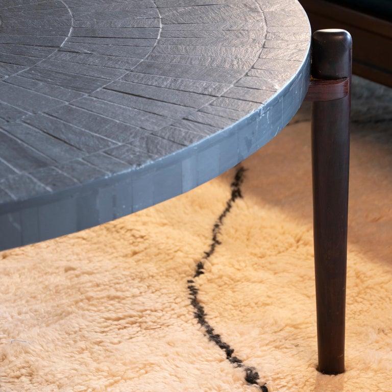 Mid-Century Modern Round Slate and Palisander Coffee Table, Belgium, 1960s 5