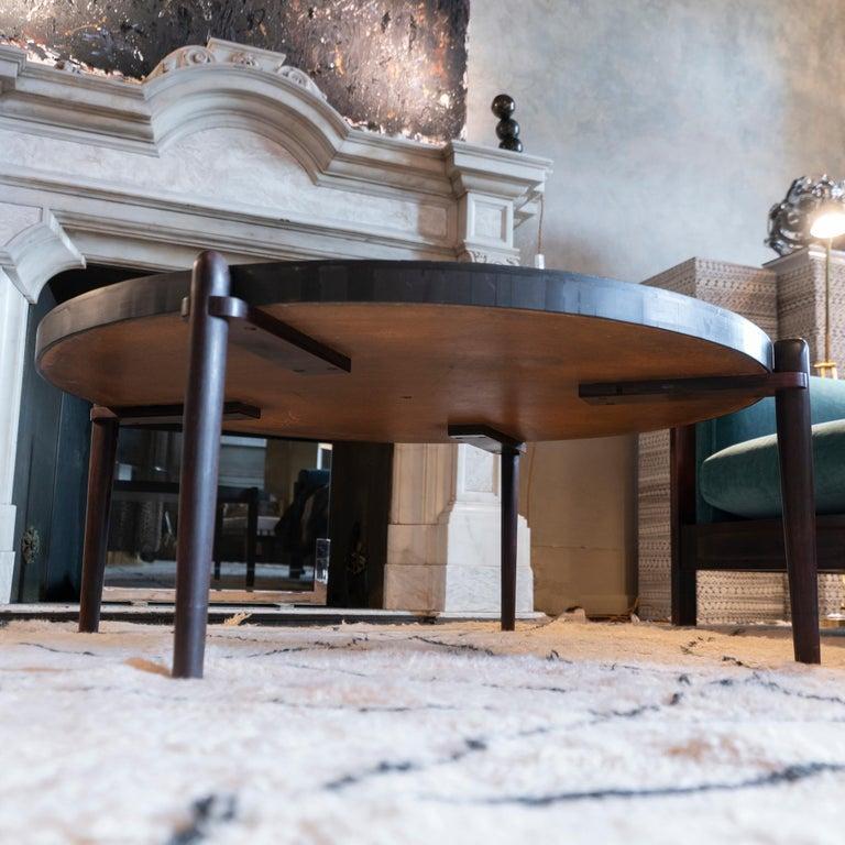 Mid-Century Modern Round Slate and Palisander Coffee Table, Belgium, 1960s 7