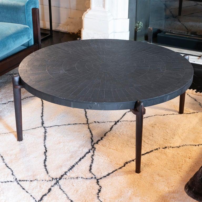 Belgian Mid-Century Modern Round Slate and Palisander Coffee Table, Belgium, 1960s