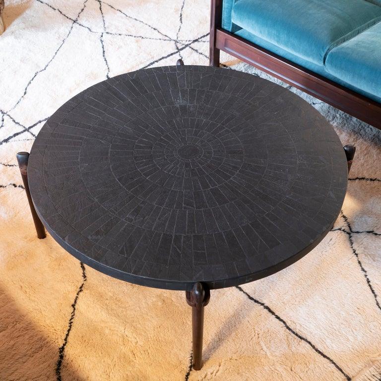 Mid-20th Century Mid-Century Modern Round Slate and Palisander Coffee Table, Belgium, 1960s