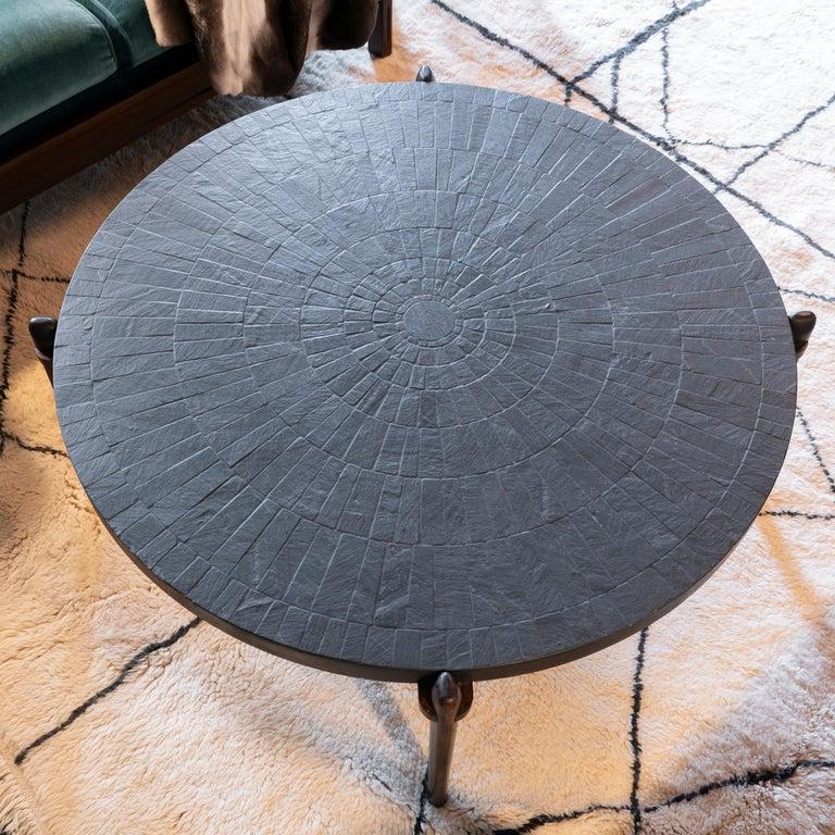 Mid-Century Modern Round Slate and Palisander Coffee Table, Belgium, 1960s 1