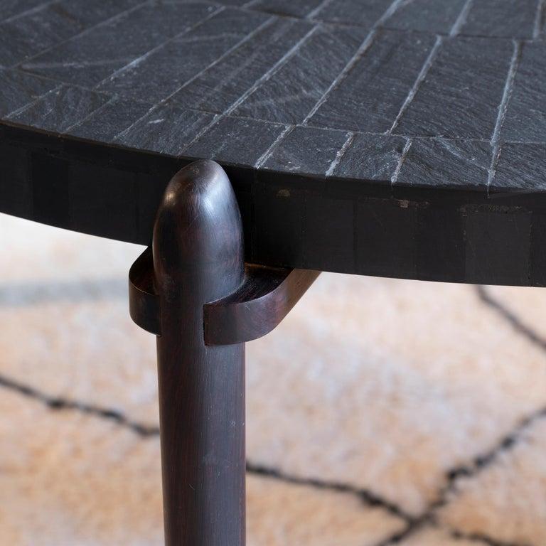 Mid-Century Modern Round Slate and Palisander Coffee Table, Belgium, 1960s 4