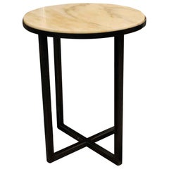 Mid-Century Modern Round Steel and Marble Side Table, Custom Sizing Available