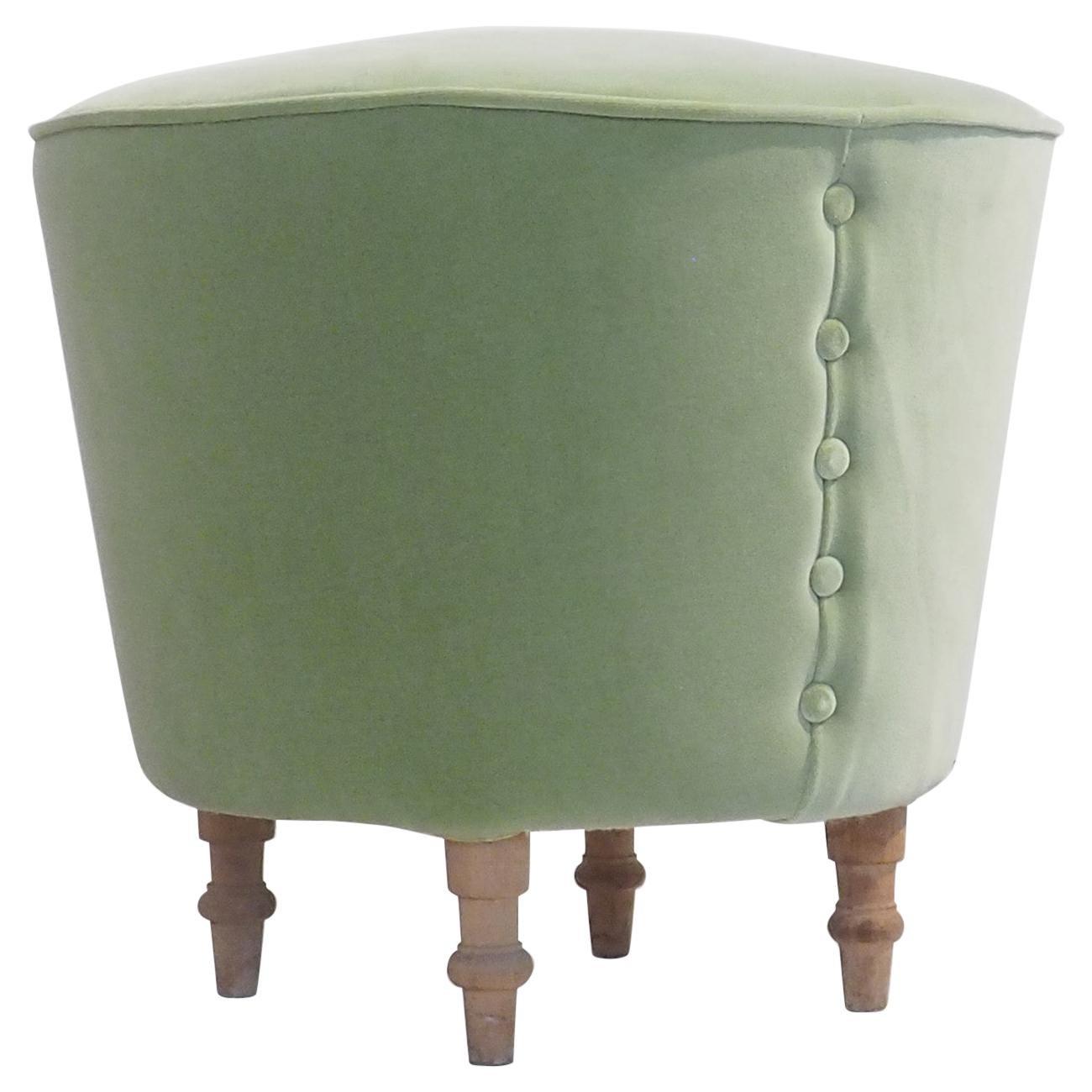 Mid-Century Modern Round Stool with Light Green Velvet Upholstery, Italy, 1950