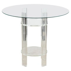 Mid-Century Modern Round Table with Lucite Base and Glass Top