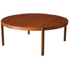 Mid-Century Modern Round Teak Coffee Table by Hans Olsen