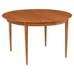 Mid-Century Modern Round Teak Expanding Dining Table