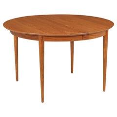 Mid-Century Modern Round Teak Expanding Dining Table