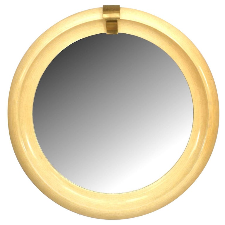Mid-Century Modern Round Wall Mirror For Sale