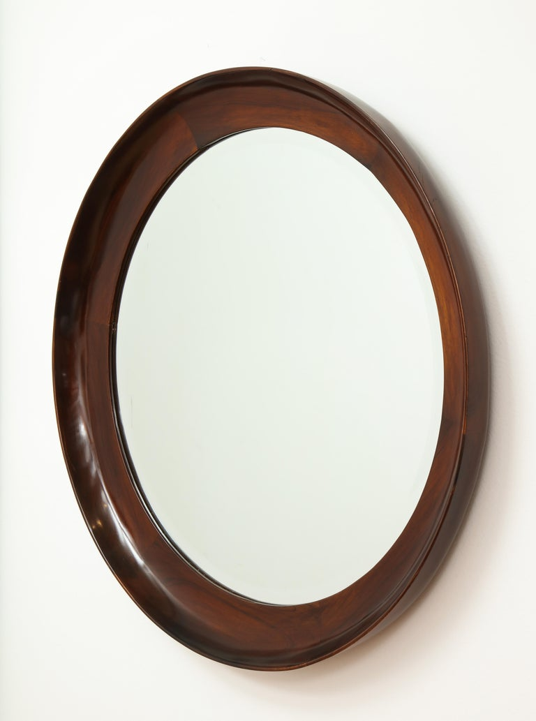 Mid-Century Modern Round Wall Mirror in Wood Frame by Oca, Brazil, 1960s For Sale 4