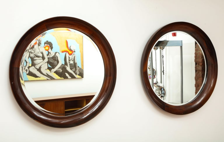 Mid-Century Modern Round Wall Mirror in Wood Frame by Oca, Brazil, 1960s For Sale 5