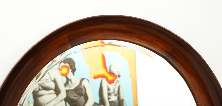 Mid-Century Modern Round Wall Mirror in Wood Frame by Oca, Brazil, 1960s For Sale 6