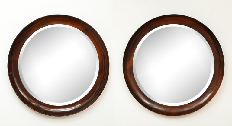 Brazilian Mid-Century Modern Round Wall Mirror in Wood Frame by Oca, Brazil, 1960s For Sale