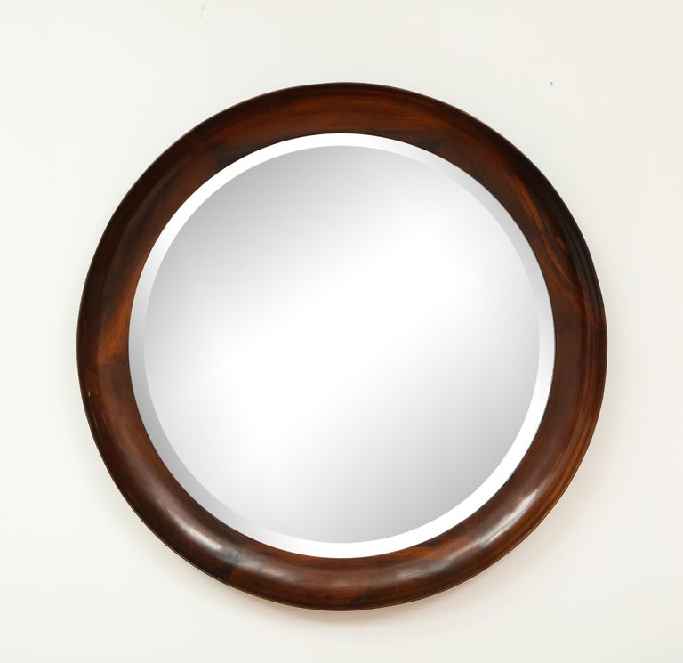Varnished Mid-Century Modern Round Wall Mirror in Wood Frame by Oca, Brazil, 1960s For Sale