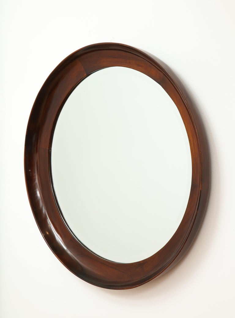Mid-Century Modern Round Wall Mirror in Wood Frame by Oca, Brazil, 1960s In Good Condition For Sale In Miami, FL