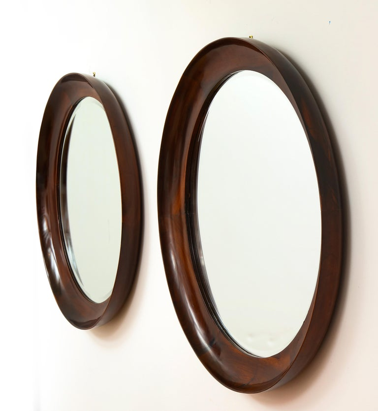 Mid-20th Century Mid-Century Modern Round Wall Mirror in Wood Frame by Oca, Brazil, 1960s For Sale