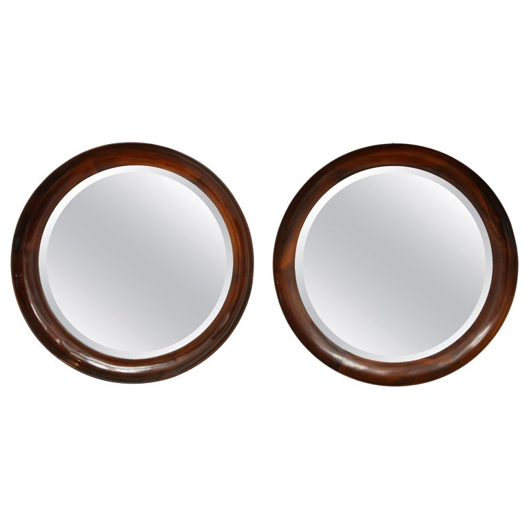 Mid-Century Modern Round Wall Mirror in Wood Frame by Oca, Brazil, 1960s For Sale