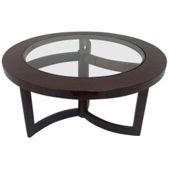 Mid-Century Modern Round Walnut and Glass Top Art Deco Cocktail Table circa 1950