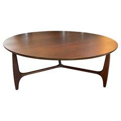 Mid-Century Modern Round Walnut Coffee Table