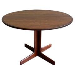 Mid-Century Modern Round Walnut Extension Dining Table