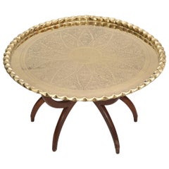 Mid-Century Modern Round Walnut Spider Leg and Bronze Moroccan Tray Coffee Table
