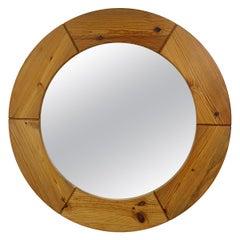 Mid-Century Modern Round Wooden Wall Mirror by Glasmäster Markaryd
