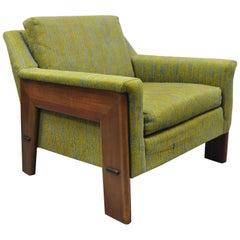 Mid-Century Modern Rowe Walnut Lounge Club Chair Original Green Blue Fabric