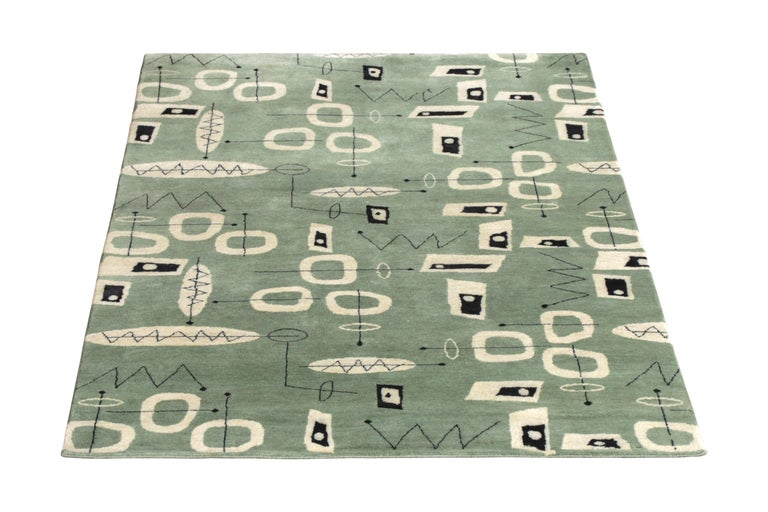 Indian Mid-Century Modern Rug in Green and Beige All-Over Pattern by Rug & Kilim For Sale