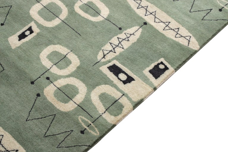 Hand-Knotted Mid-Century Modern Rug in Green and Beige All-Over Pattern by Rug & Kilim For Sale