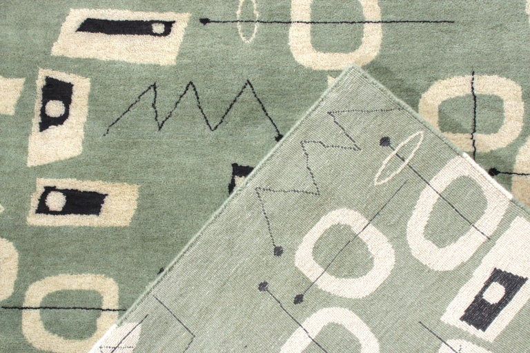 Contemporary Mid-Century Modern Rug in Green and Beige All-Over Pattern by Rug & Kilim For Sale