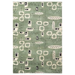Rug & Kilim's Mid-Century Modern Rug in Green and Beige All-Over Pattern