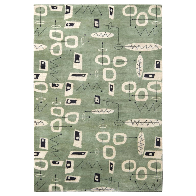 Mid-Century Modern Rug in Green and Beige All-Over Pattern by Rug & Kilim For Sale