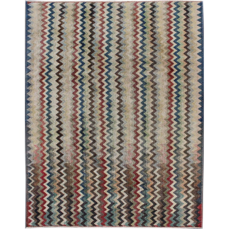 Mid Century Modern Rug In Navy Red Green Brown And Ivory For Sale