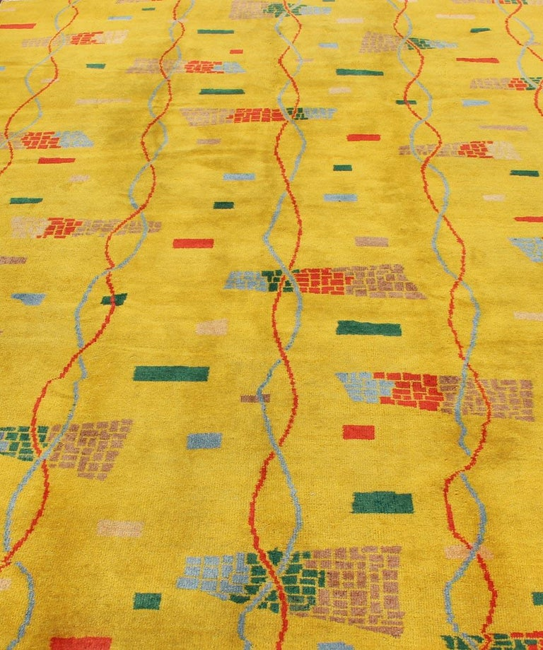 Mid-Century Modern Rug, Turkish Carpet in Bright Yellow, Red, Blue, Green & Pink For Sale 5