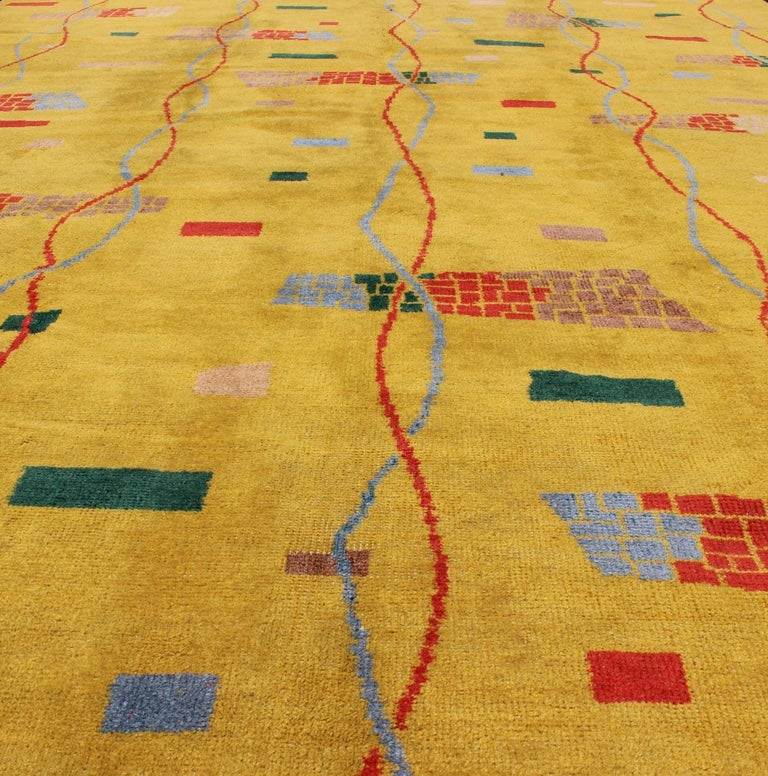 Mid-Century Modern Rug, Turkish Carpet in Bright Yellow, Red, Blue, Green & Pink For Sale 6