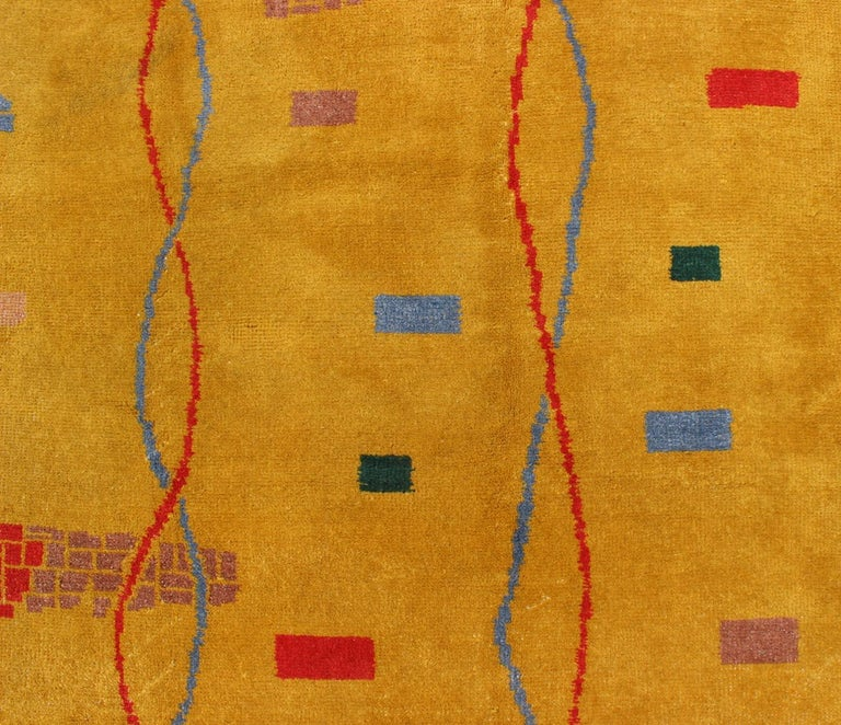 Mid-Century Modern Rug, Turkish Carpet in Bright Yellow, Red, Blue, Green & Pink For Sale 7