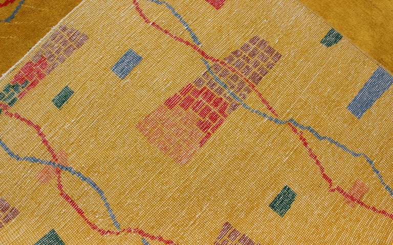 Mid-Century Modern Rug, Turkish Carpet in Bright Yellow, Red, Blue, Green & Pink For Sale 8