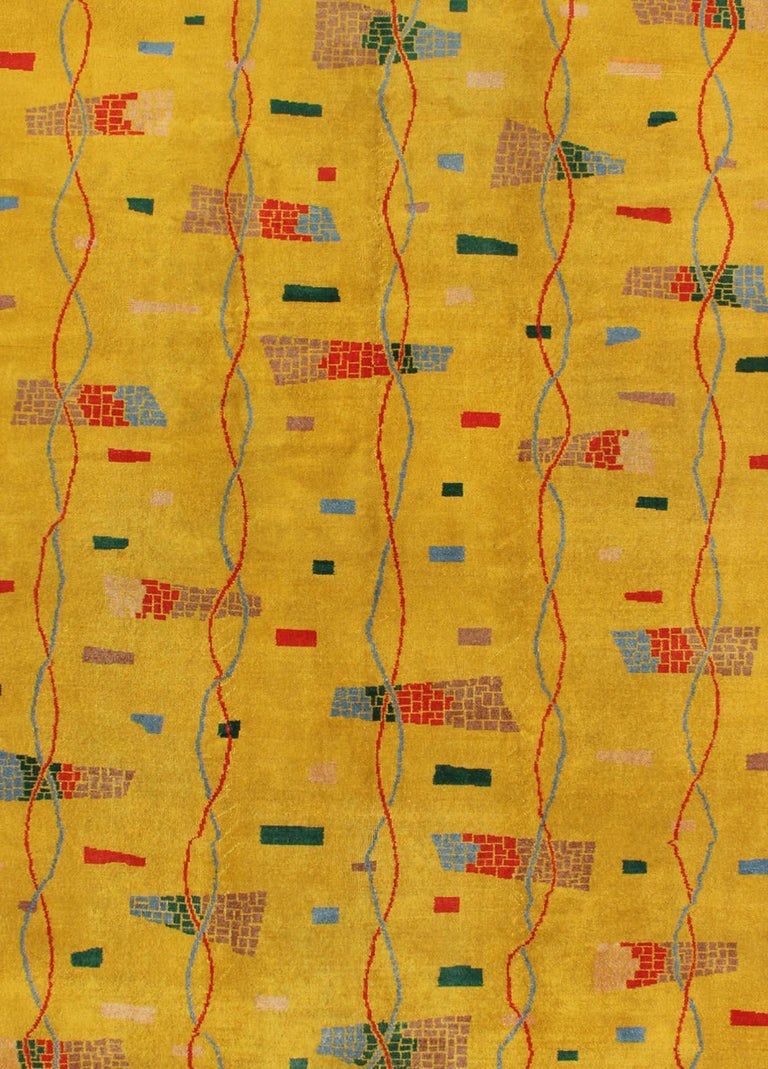 Mid-Century Modern Rug, Turkish Carpet in Bright Yellow, Red, Blue, Green & Pink In Excellent Condition For Sale In Atlanta, GA