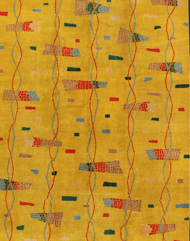 Mid-20th Century Mid-Century Modern Rug, Turkish Carpet in Bright Yellow, Red, Blue, Green & Pink For Sale