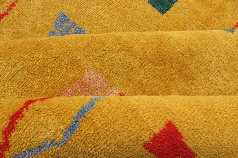 Wool Mid-Century Modern Rug, Turkish Carpet in Bright Yellow, Red, Blue, Green & Pink For Sale