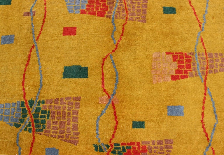 Mid-Century Modern Rug, Turkish Carpet in Bright Yellow, Red, Blue, Green & Pink For Sale 1