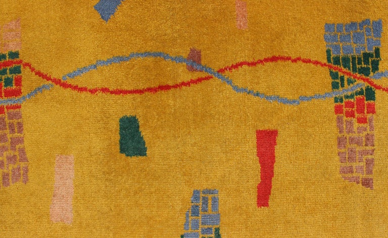 Mid-Century Modern Rug, Turkish Carpet in Bright Yellow, Red, Blue, Green & Pink For Sale 2