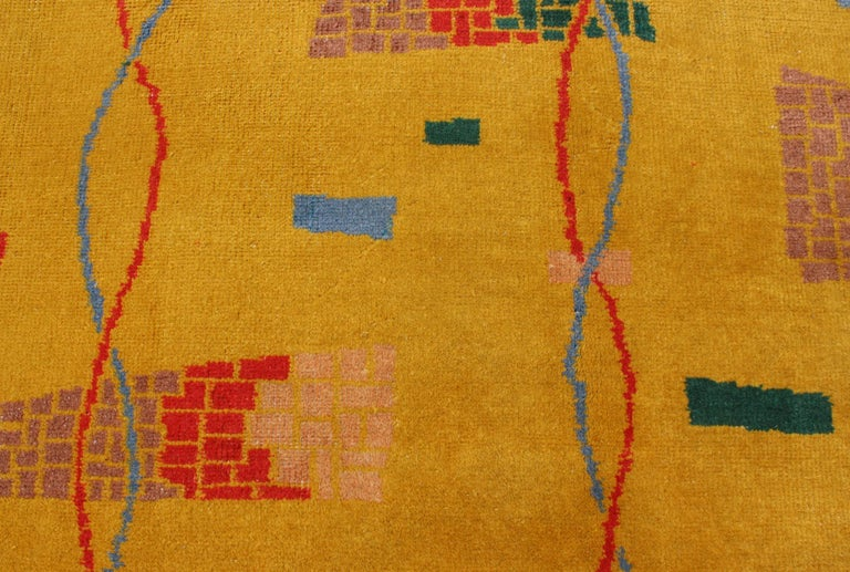 Mid-Century Modern Rug, Turkish Carpet in Bright Yellow, Red, Blue, Green & Pink For Sale 3