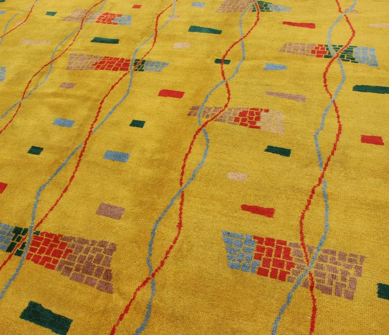 Mid-Century Modern Rug, Turkish Carpet in Bright Yellow, Red, Blue, Green & Pink For Sale 4