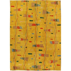 Mid-Century Modern Rug, Turkish Carpet in Bright Yellow, Red, Blue, Green & Pink