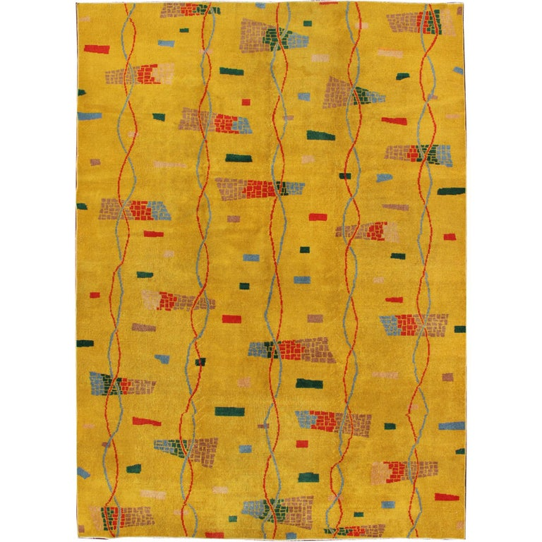 Mid-Century Modern Rug, Turkish Carpet in Bright Yellow, Red, Blue, Green & Pink For Sale